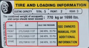 Truck Tire OEM Specification Sticker Example